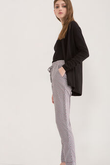 Patterned trousers with drawstring, Light Grey, hi-res