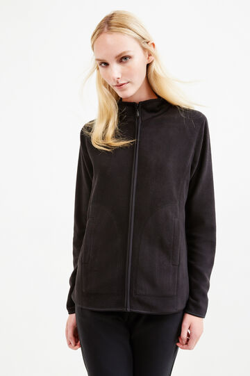 Solid colour fleece sweatshirt with zip, Black, hi-res