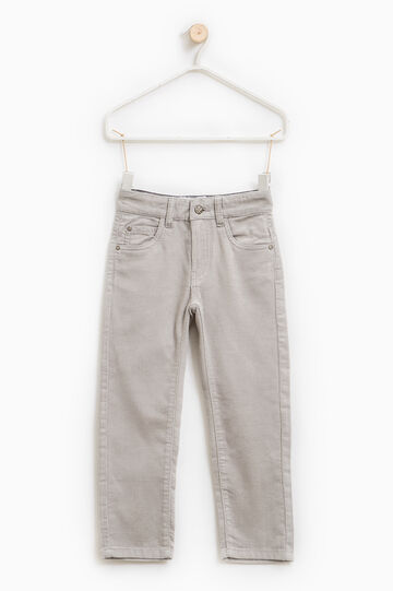 Solid colour ribbed trousers., Grey/Silver, hi-res