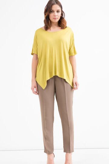 Curvy block colour cotton T-shirt, Yellow, hi-res