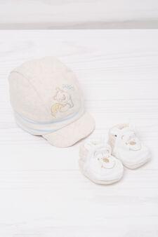 Biocotton hat and shoes set, White/Brown, hi-res