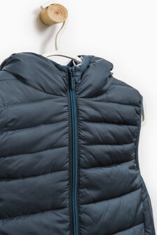 Padded waistcoat with high neck with zip, Dark Grey, hi-res