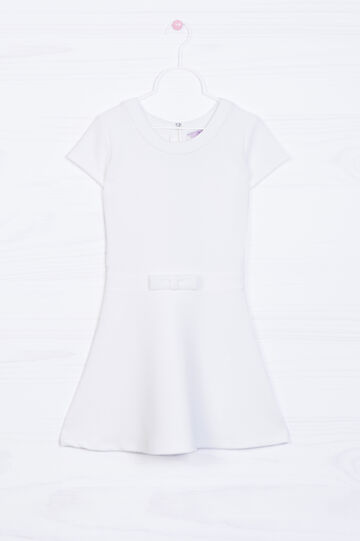 Solid colour sleeveless dress with bow, White, hi-res