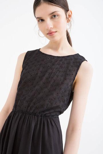 Solid colour short broderie anglaise dress, Black, hi-res