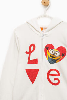 100% cotton sweatshirt with Minions print, White, hi-res