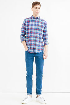 Casual check shirt in 100% cotton, Blue/Red, hi-res