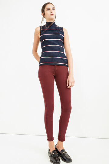High-neck top with striped ribbing, White/Blue, hi-res