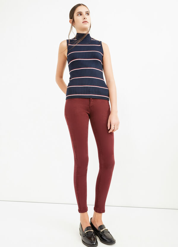 High-neck top with striped ribbing | OVS