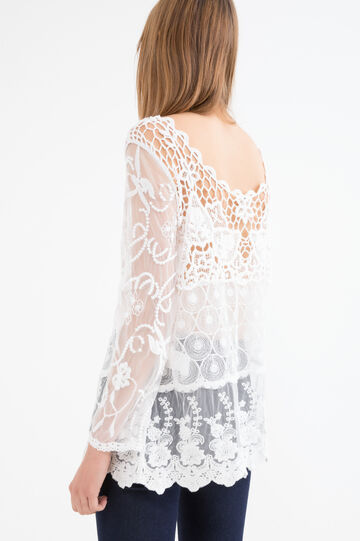 Lace blouse with openwork inserts, Cream White, hi-res