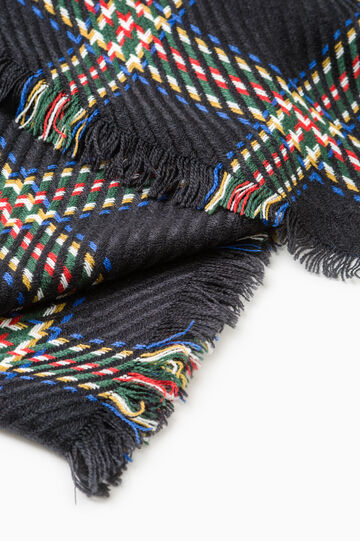 Check scarf with fringed ends., Blue, hi-res