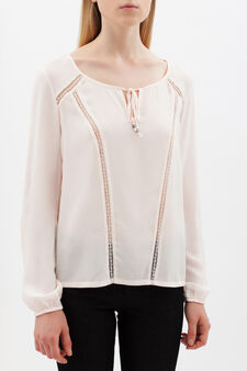 Blouse with lace details, Baby Pink, hi-res