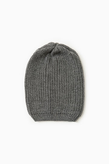 Solid colour knit beanie, Dark Grey Marl, hi-res