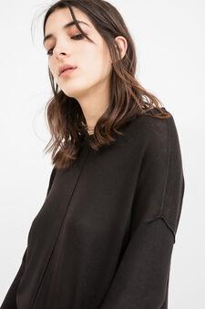 Viscose cotton blend pullover with splits, Black, hi-res