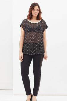 Stretch cotton polka dot Curvy T-shirt, Black, hi-res