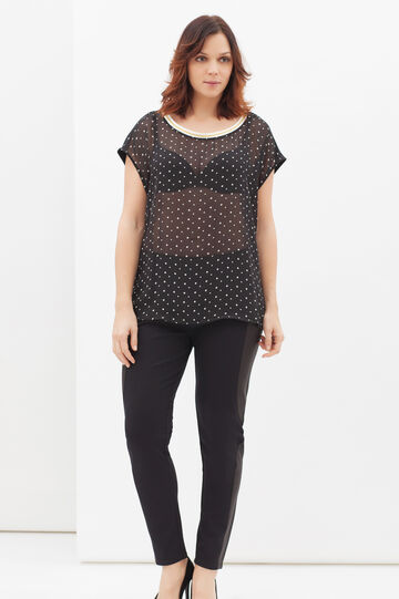 T-shirt Curvy stretch a pois, Nero, hi-res