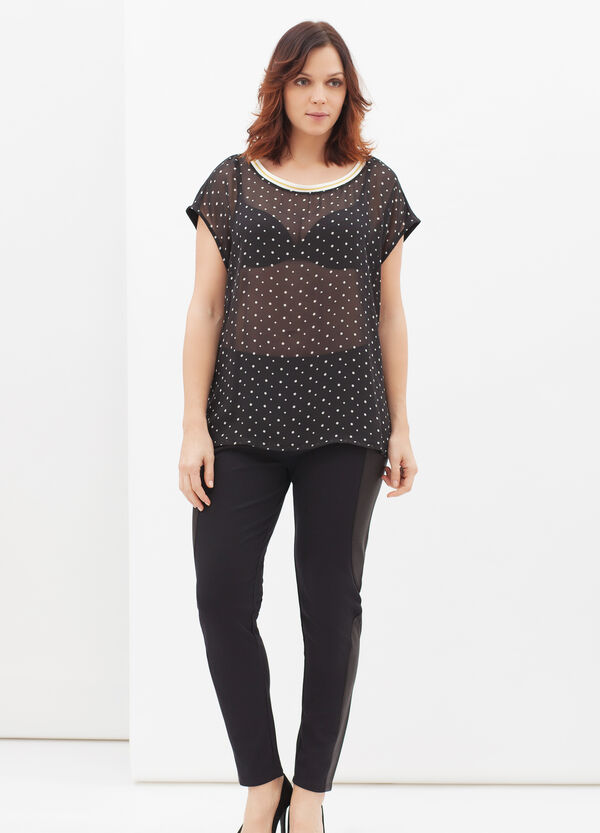 T-shirt Curvy stretch a pois | OVS