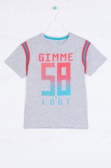Printed T-shirt in 100% cotton, Grey Marl, hi-res
