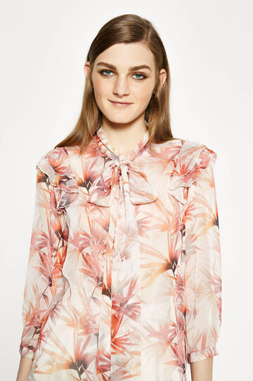 Floral blouse with tie fastening