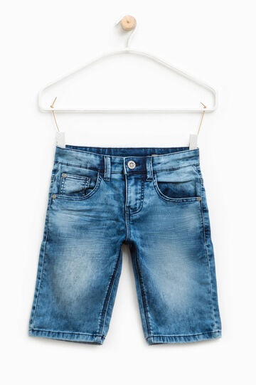 Worn-effect stretch denim Bermuda shorts, Soft Blue, hi-res