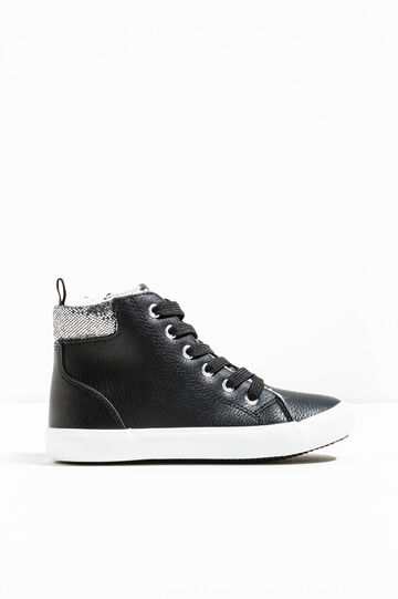 High-top sneakers with glitter back, Black/Grey, hi-res