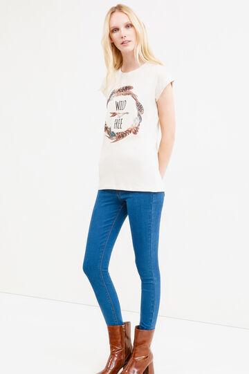 T-shirt stampata e maniche ad aletta, Sabbia, hi-res