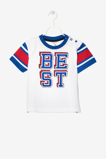 T-shirt with contrasting sleeves, White, hi-res