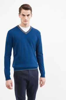 Cashmere blend Rumford pullover with patches, Denim, hi-res