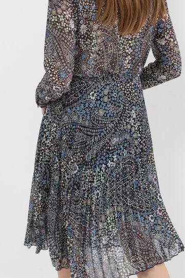 Stretch longuette pleated skirt, Black, hi-res