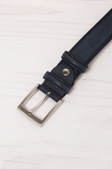 Leather look belt with double loop, Navy Blue, hi-res