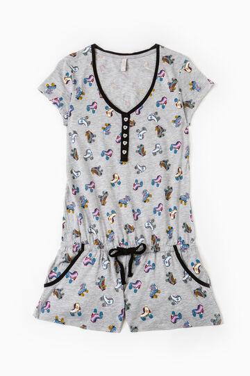 Short sleepsuit with skates pattern, Grey, hi-res