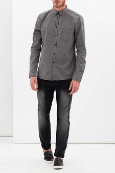 Camicia slim fit a quadretti, Bianco/Nero, hi-res