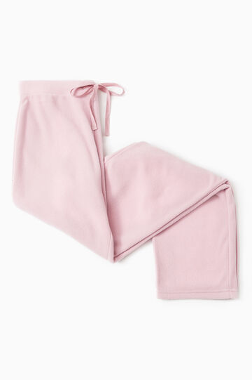 Solid colour pyjama trousers in fleece, Pink, hi-res