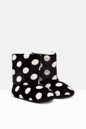 Polka dot slipper boots, White/Black, hi-res