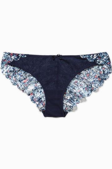 Briefs with floral lace back, Blue, hi-res