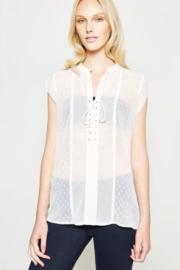 Semi-sheer blouse with dots, Cream White, hi-res