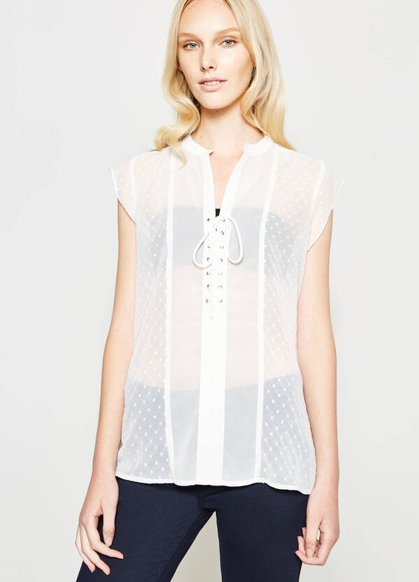 Blusa semitrasparente con puntinatura | OVS