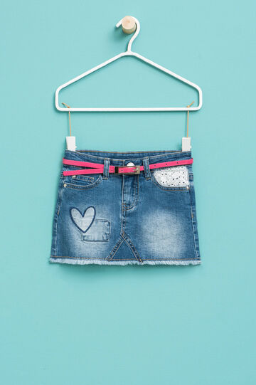Stretch denim skirt with lace and patches, Denim, hi-res