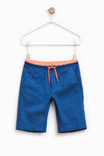 Bermuda shorts with elasticated striped waistband