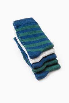 Five-pack short striped socks, Blue/Green, hi-res