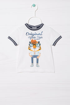 T-shirt in 100% cotton with contrasting inserts, White, hi-res