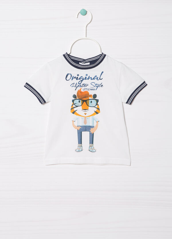 T-shirt in 100% cotton with contrasting inserts | OVS