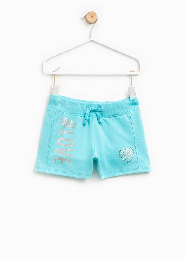Shorts with glitter print and diamantés | OVS