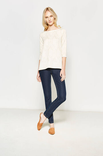 Patterned jacquard T-shirt with lurex, Beige, hi-res