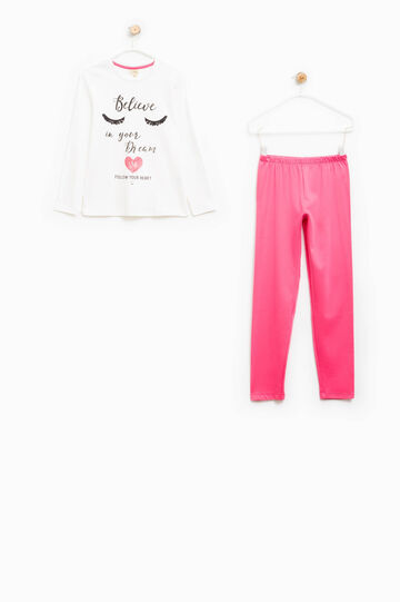 Cotton pyjamas with printed lettering, Pink, hi-res