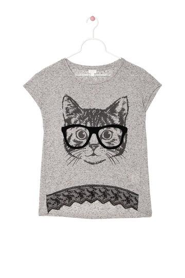 T-shirt con inserti in pizzo, Grigio, hi-res
