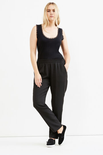 Curvy trousers with elasticated waist band, Black, hi-res