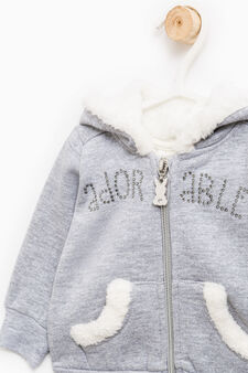 Sweatshirt with pouch pocket with fur, Grey Marl, hi-res