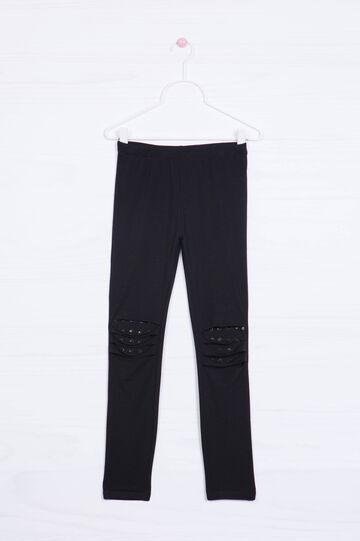 Leggings stretch strappi e borchie, Nero, hi-res