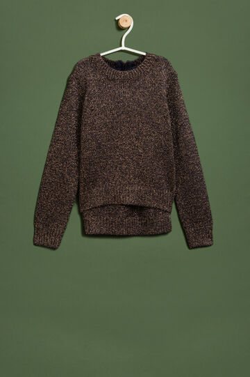 Knit round-neck pullover with zip, Blue, hi-res