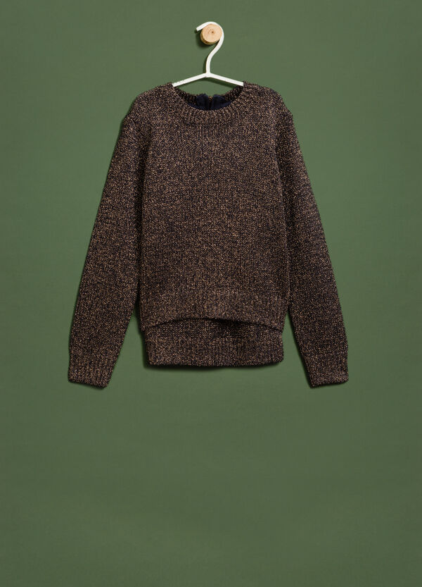 Knit round-neck pullover with zip | OVS